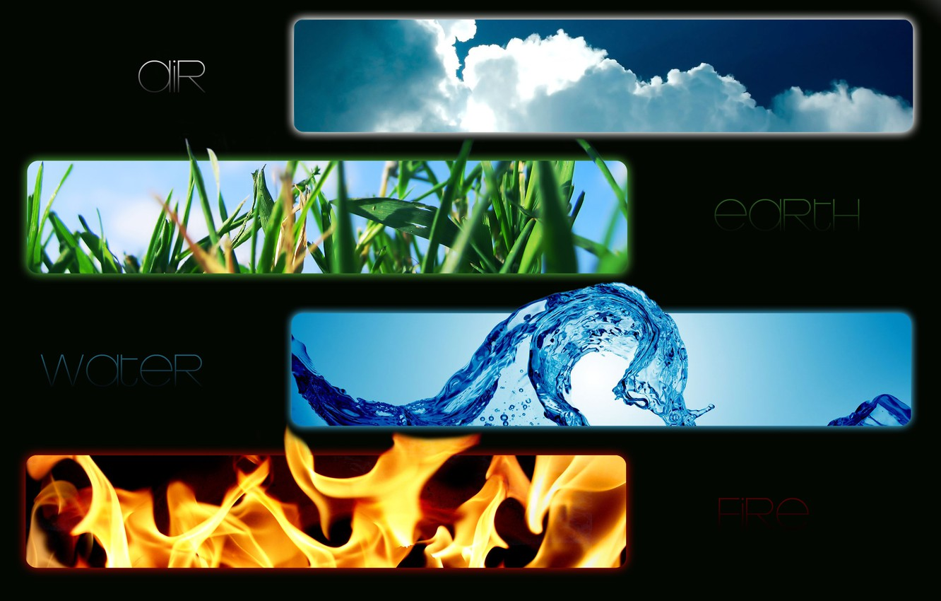 Photo wallpaper water, fire, earth, the air, item