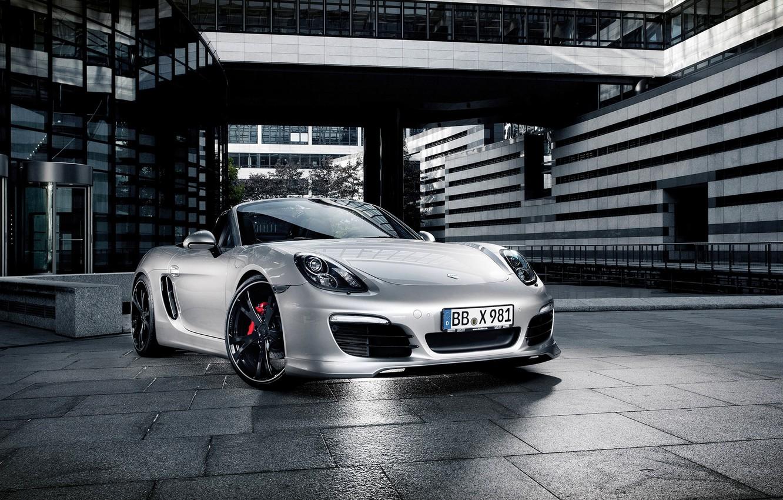 Photo wallpaper Auto, The city, Porsche, Convertible, Grey, Silver, The hood, Lights, Porsche, The front, Boxter