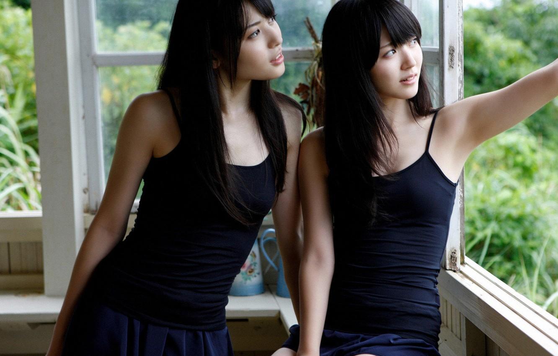 Photo wallpaper girls, mood, window, Asian girls