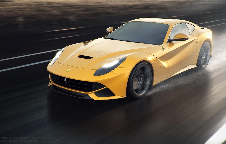 Photo wallpaper Ferrari, Speed, Front, Sun, Rain, Yellow, Road, Berlinetta, F12
