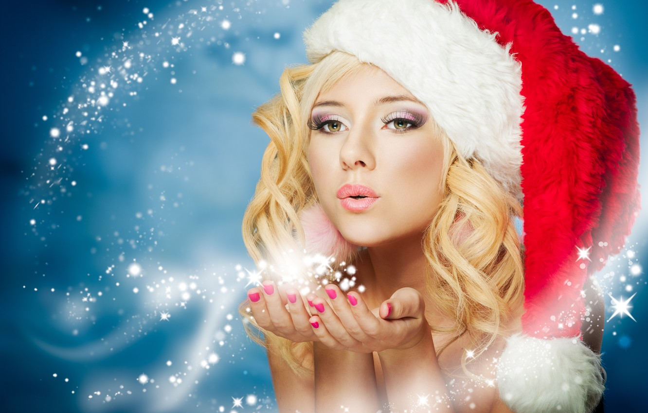 Photo wallpaper winter, snow, holiday, new year, maiden, fabulously
