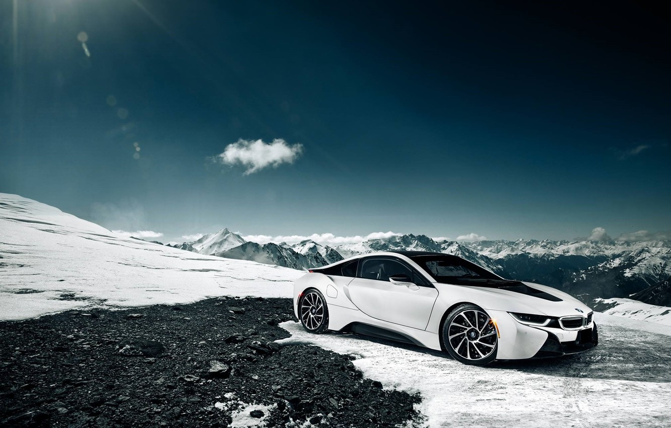 Photo wallpaper BMW, Sky, Front, Sun, Snow, White, Moutian