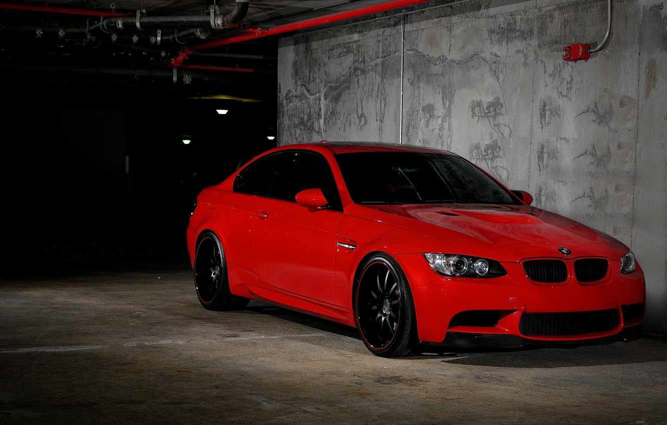Photo wallpaper red, BMW, BMW, Parking, red, E92, the front part