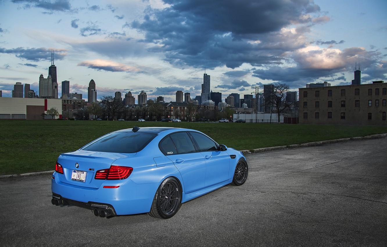 Photo wallpaper blue, BMW, BMW, Matt, rear view, f10, Yas Marina Blue
