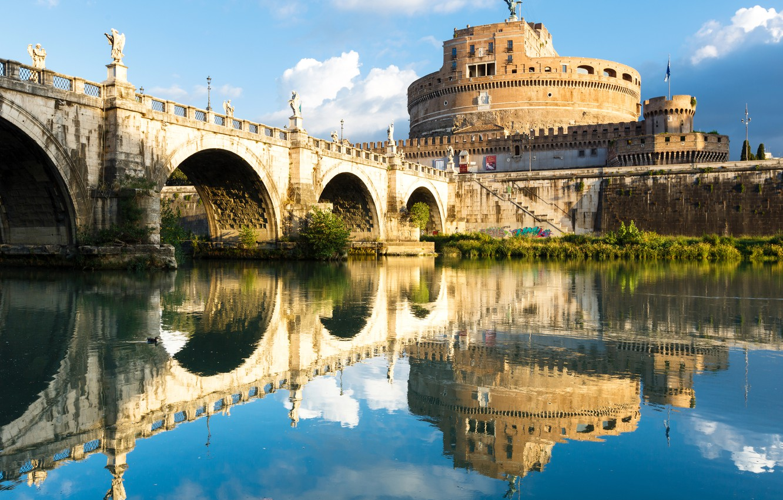 Photo wallpaper water, bridge, reflection, river, Rome, Italy, fortress, architecture