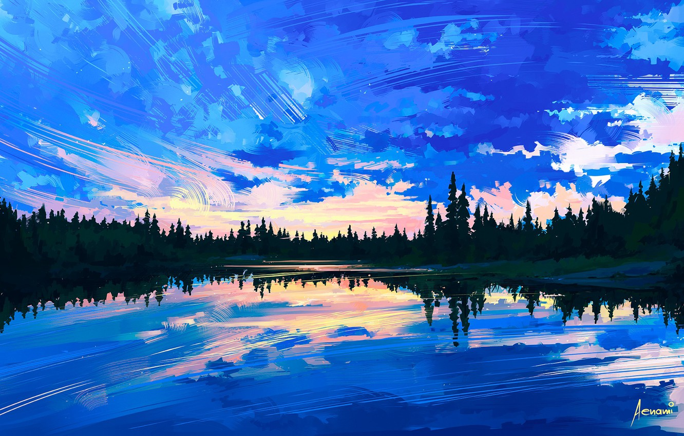 Photo wallpaper the sky, water, clouds, trees, reflection, art, painting, nature. landscape