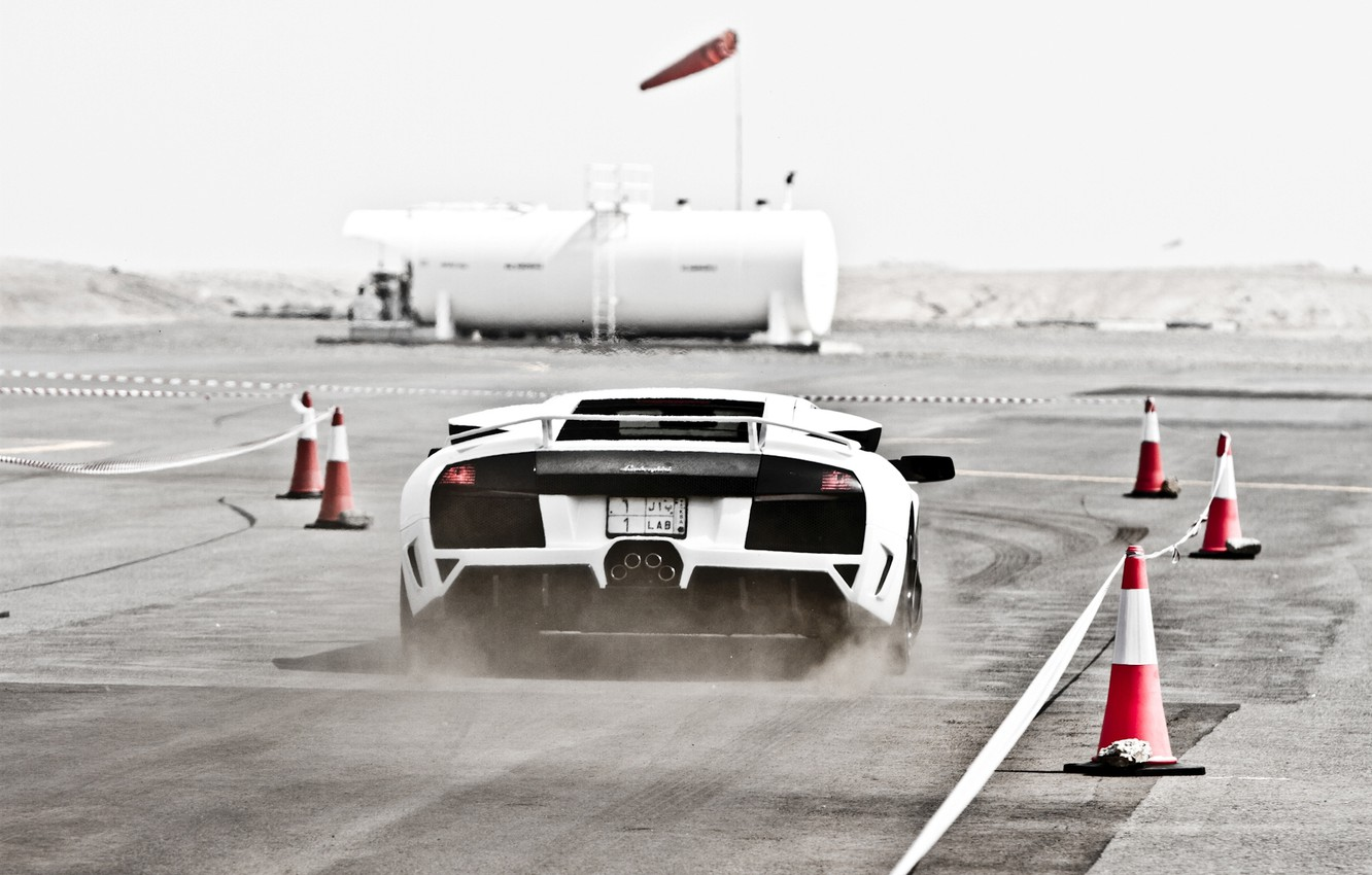 Photo wallpaper white, track, dust, the fence, white, lamborghini, murcielago, lp640, Lamborghini, Murcielago, cones