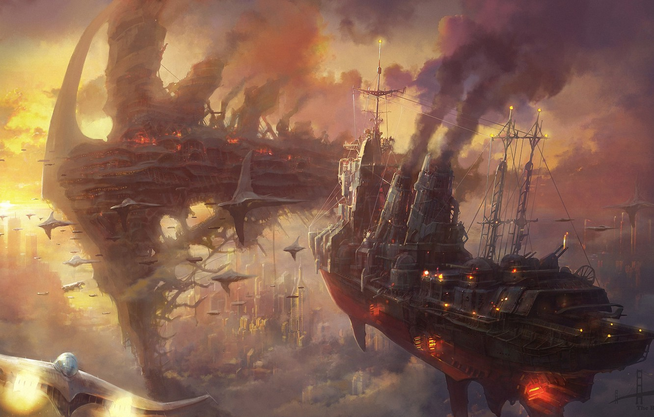 Photo wallpaper clouds, sunset, the city, smoke, ships, art, steampunk, Armada, in the sky, Minseub Young