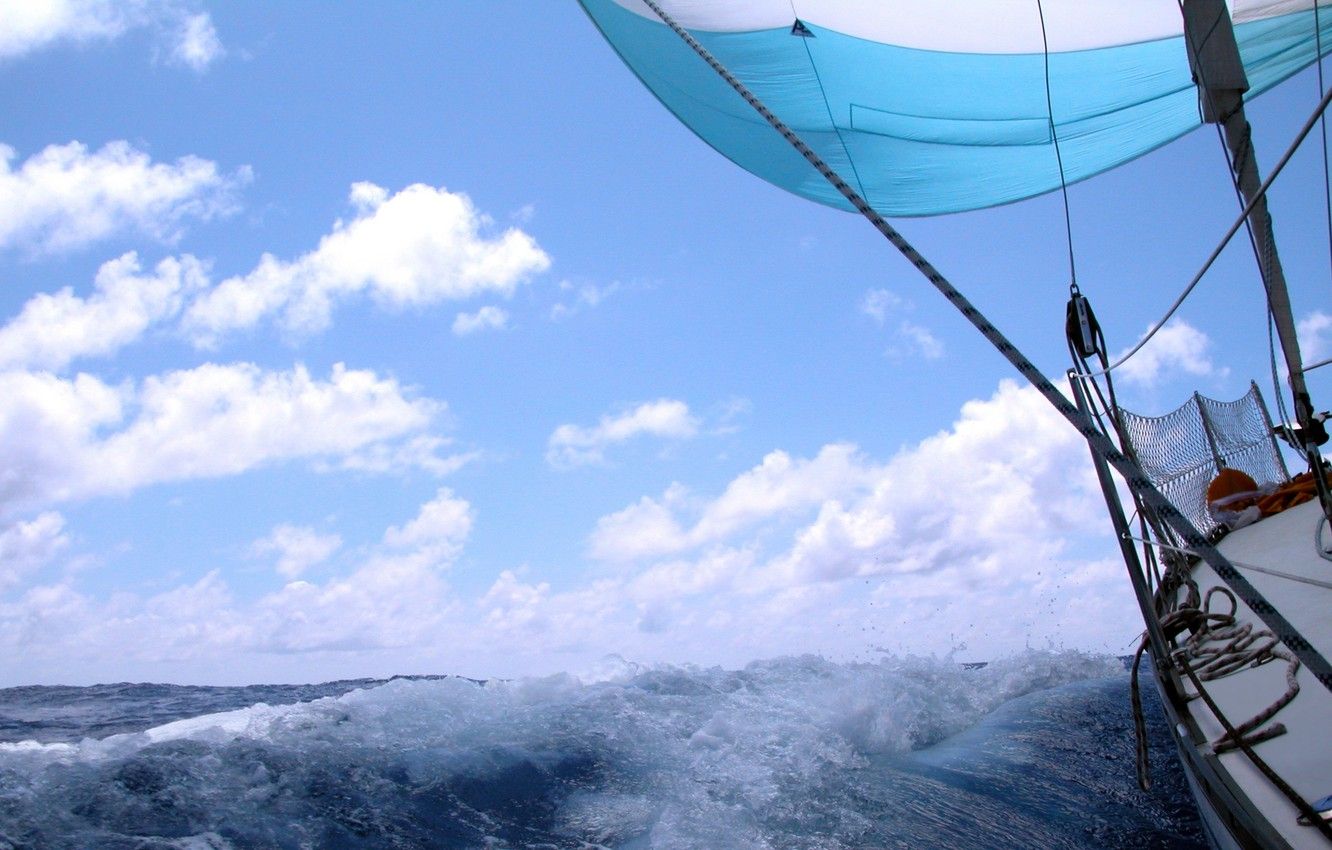 Photo wallpaper sea, wave, the sky, clouds, squirt, the wind, stay, speed, yacht, horizon, space, sail, deck, …