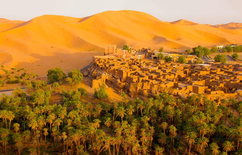 Photo wallpaper sand, the dunes, the city, palm trees, desert, home, Algeria, Oasis, Tagit