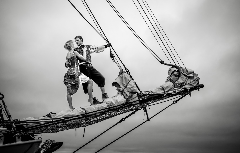 Photo wallpaper love, couple, cloudy, sailing, sail