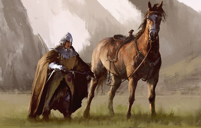 Photo wallpaper horse, sword, warrior, art, male, rider, cloak, armor