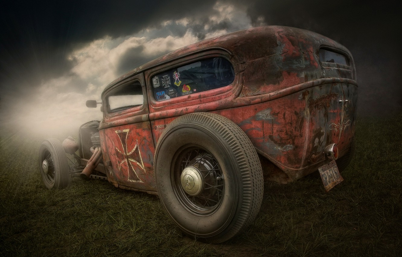 Photo wallpaper retro, Hot Rod, Rat Rod, Hot rod