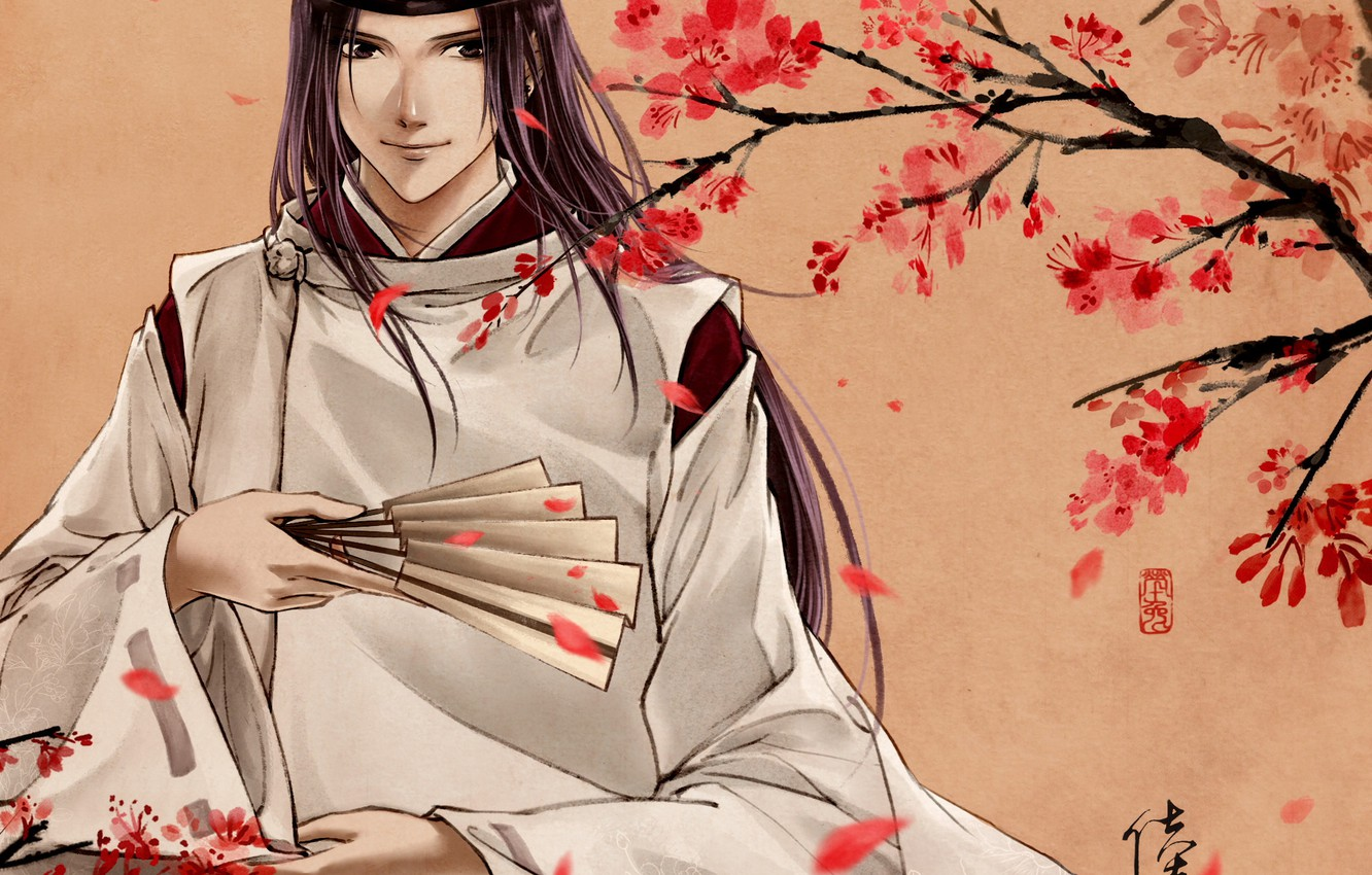 Photo wallpaper flowers, smile, tree, spirit, fan, art, Anime, guy, Anime, Fujiwara no Sai, Hikaru no Go