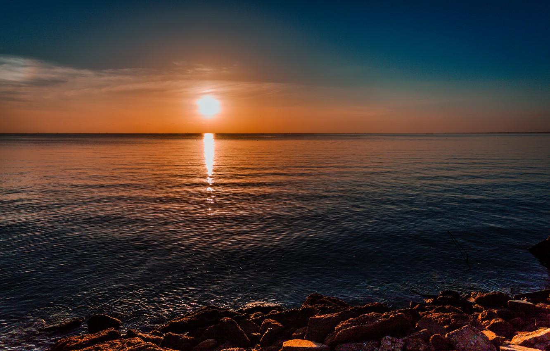 Photo wallpaper sea, the sun, stones, dawn, shore, morning