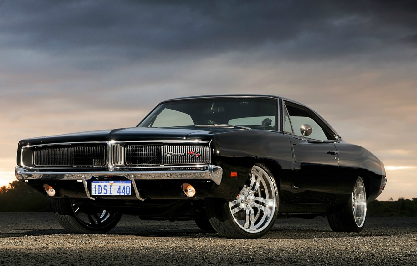 Photo wallpaper Black, Dodge, Dodge, Black, Charger, R/T, Muscle Car, Muscle Car, '1969, Charge, Package Included R/T