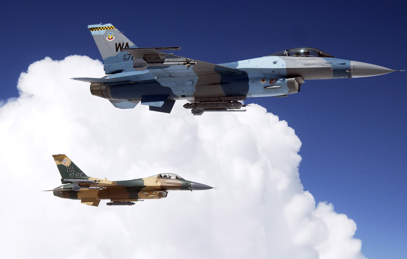 Photo wallpaper clouds, fighters, f16