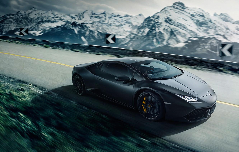 Photo wallpaper Lamborghini, Speed, Black, Mountain, Road, Supercar, Huracan, LP640-4
