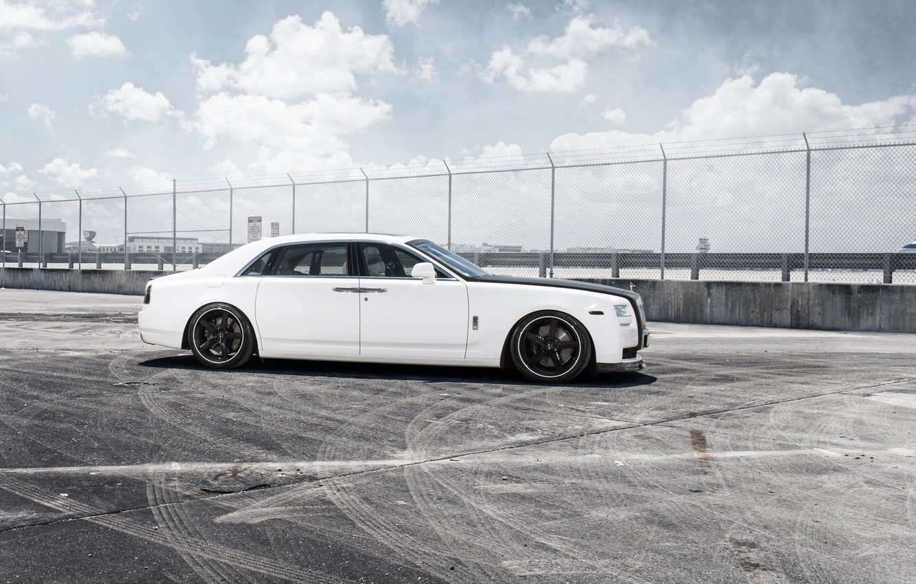Photo wallpaper car, tuning, Rolls-Royce, white, Ghost, tuning, rechange