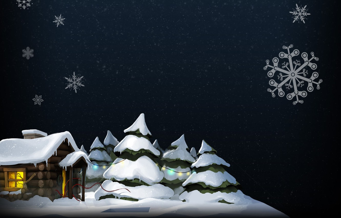 Photo wallpaper winter, snow, snowflakes, house, tree, steam, pation