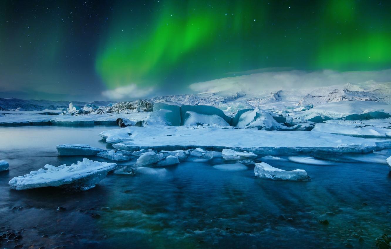 Photo wallpaper Frozen, Stars, Aurora, Winter, Lights, Snow, Iceland, Ice, Northern, Lake, Borealis, Jökulsárlón, Glacial