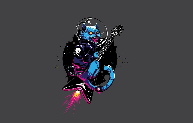 Photo wallpaper cat, guitar, minimalism, guitar, cat, jet