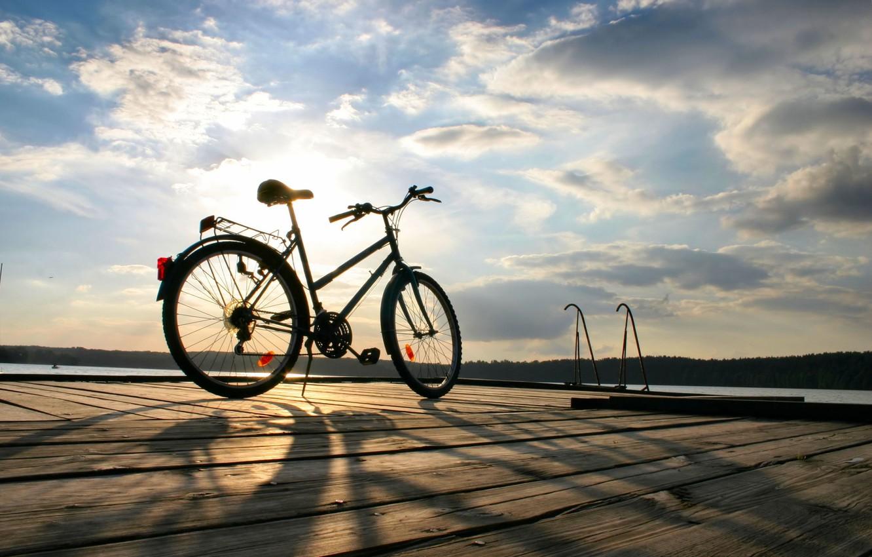 Photo wallpaper sea, the sky, water, the sun, clouds, trees, bike, background, widescreen, Wallpaper, mood, foliage, sport, …