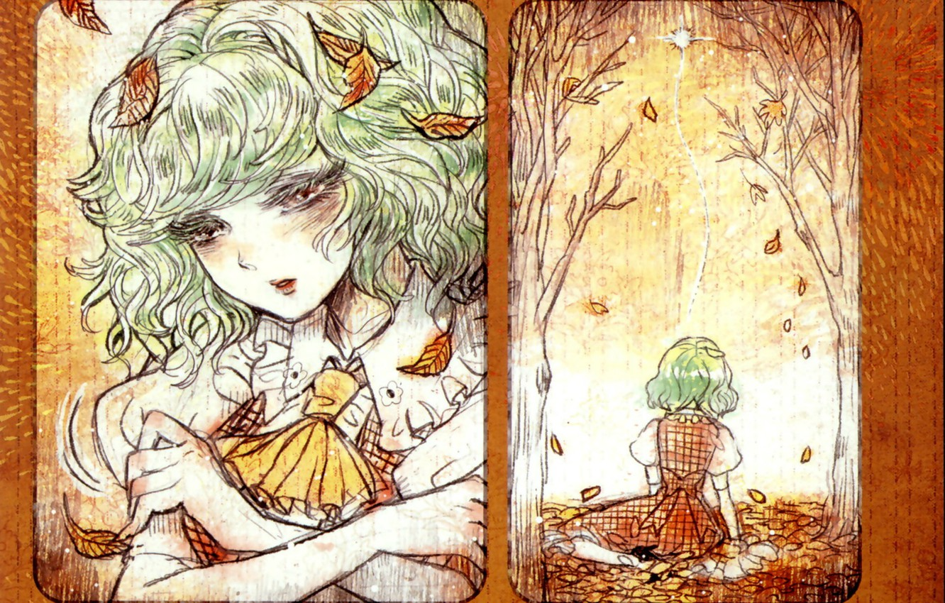 Photo wallpaper sadness, face, loneliness, bow, falling leaves, touhou, autumn leaves, white blouse, Touhou Project, Project East, …