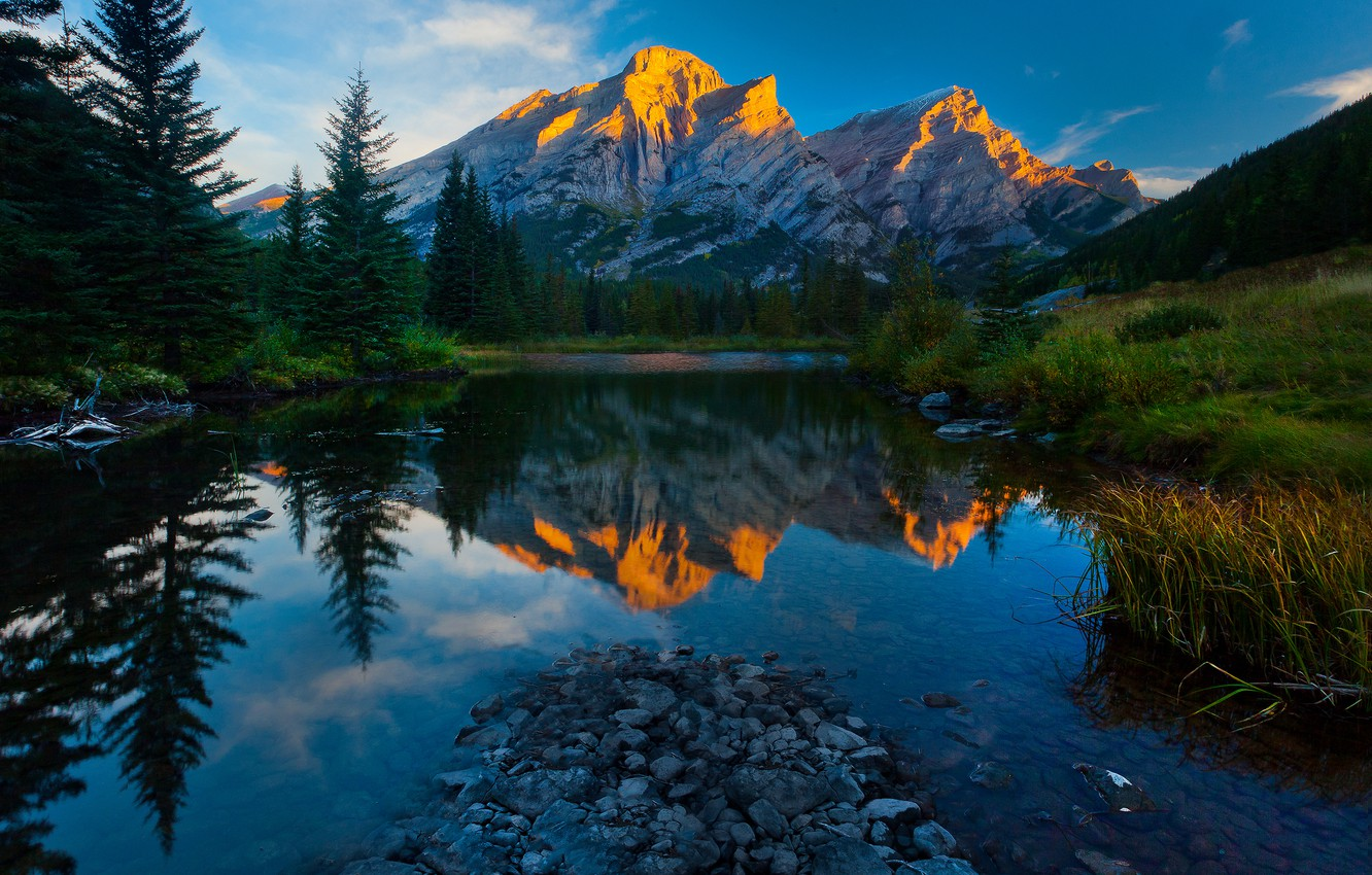 Photo wallpaper forest, the sky, clouds, trees, sunset, mountains, nature, lake, reflection, stones, spruce, the evening, Alberta, …