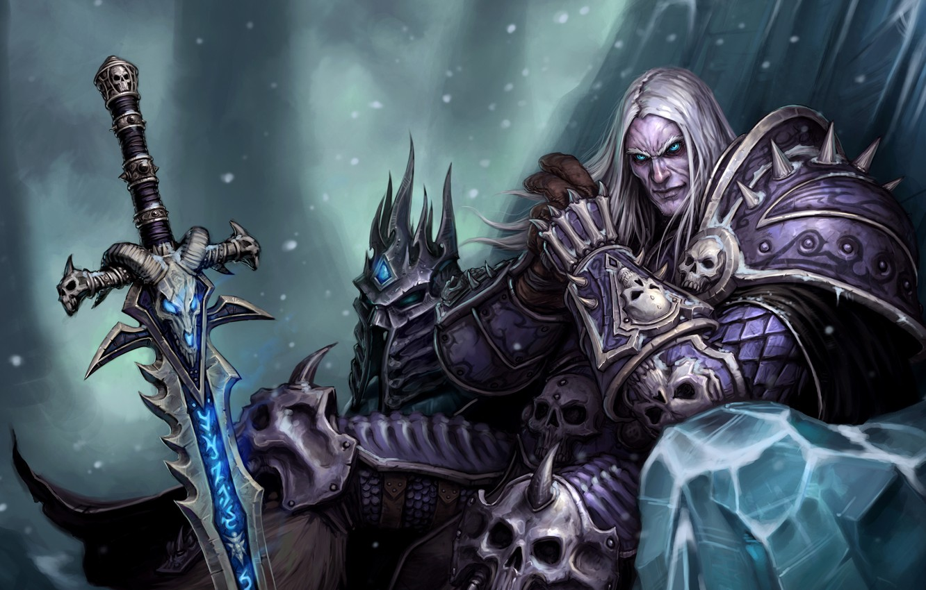 Photo wallpaper WoW, World of Warcraft, Arthas, Evil, Pearls, Armor, Sword Frostmourne, Powerful, The Lich King, Knight …