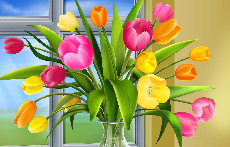 Photo wallpaper window, tulips, vase