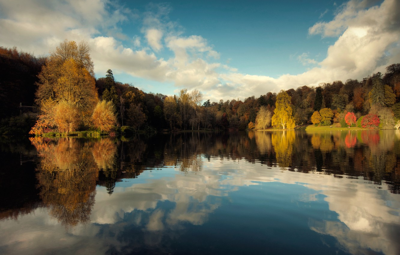 Photo wallpaper autumn, the sky, reflection, trees, nature, lake