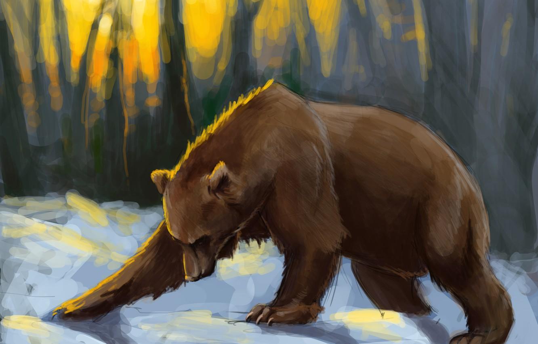 Photo wallpaper forest, snow, sunset, bear, art, the sun's rays, Brown bear