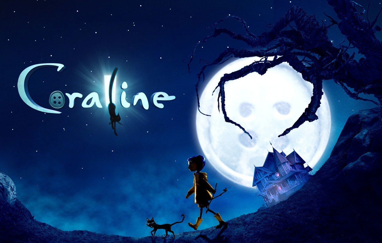Wallpaper Cat House Tree The Moon Cartoon Girl Button Scary Story Coraline Coraline Coralyn Images For Desktop Section Filmy Download