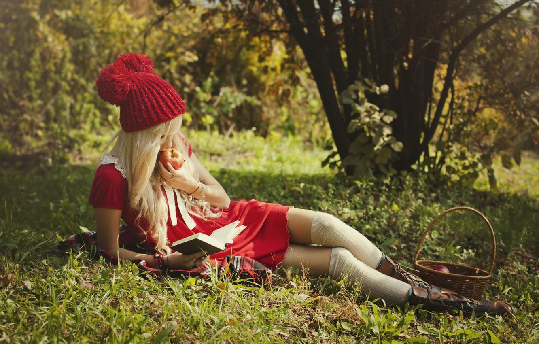 Photo wallpaper girl, nature, basket, Apple, little red riding hood, shoes, blonde, lies, book, legs, beauty, reads, …