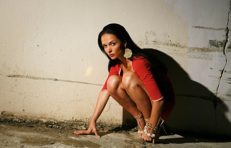Photo wallpaper look, girl, decoration, pose, model, shadow, earrings, dress, brunette, Jenya D, girl, legs, Katie Fey, …