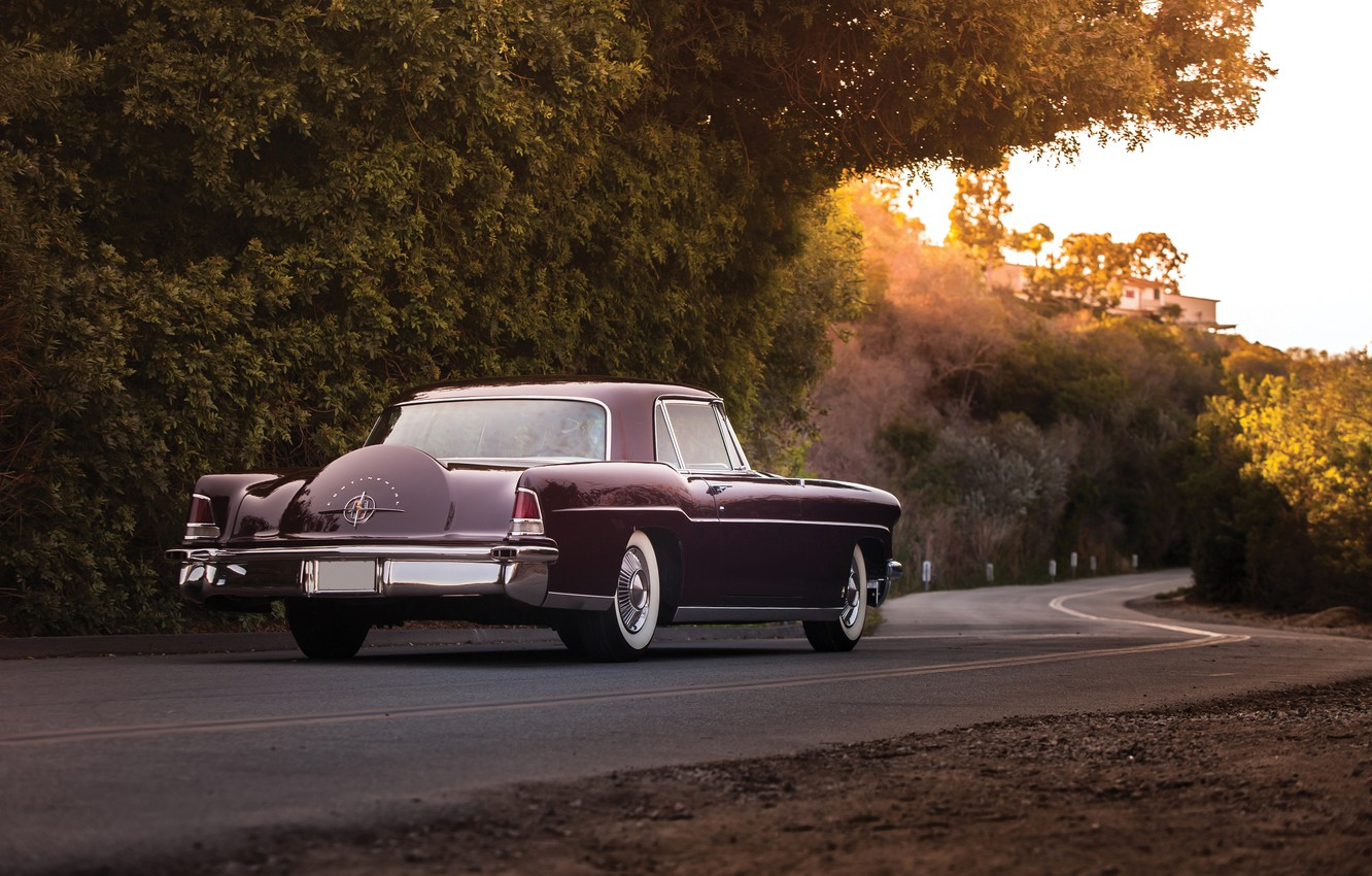 Photo wallpaper road, Lincoln, background, Continental, rear view, 1956, Lincoln, Mark II, Continental