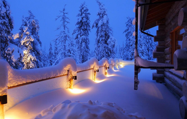 Photo wallpaper winter, snow, trees, landscape, nature, house