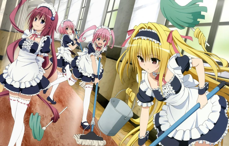 Photo wallpaper look, anime, corridor, cleaning, girls, anime, fun, love trouble, inventory, to love ru, nana asta …