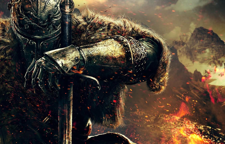 Photo wallpaper hand, warrior, helmet, fur, armor, knight, Namco Bandai Games, Dark Souls 2, From Software, Dark …