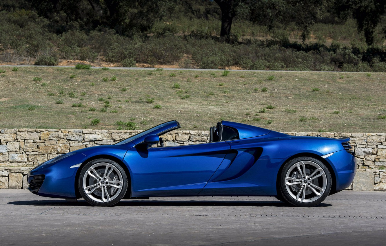 Photo wallpaper blue, spider, the fence, convertible, side view, spider, McLaren, Mclaren MP4-12C, air intakes