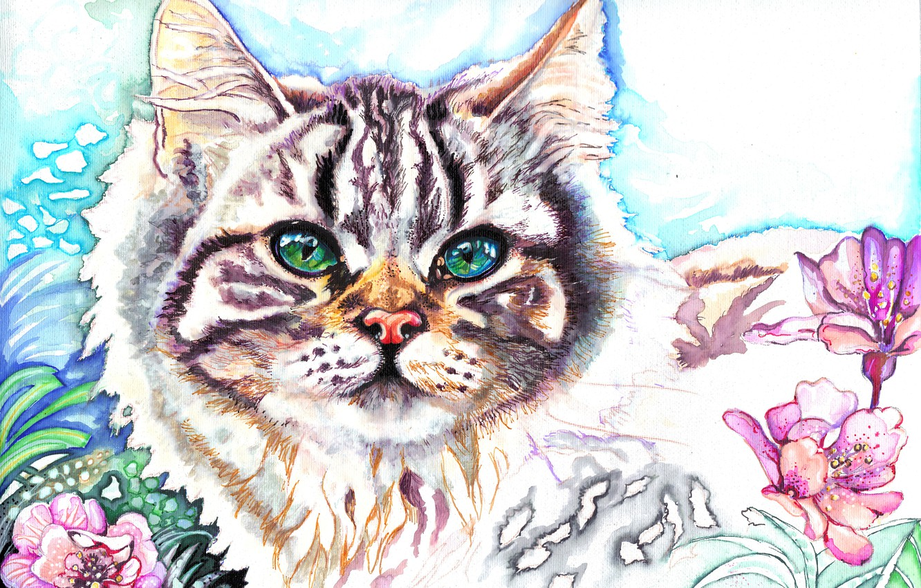 Photo wallpaper cat, look, flowers, animal, muzzle, ears, painting, green eyes, Christina Papagianni