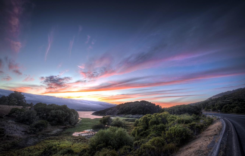 Photo wallpaper road, landscape, sunset