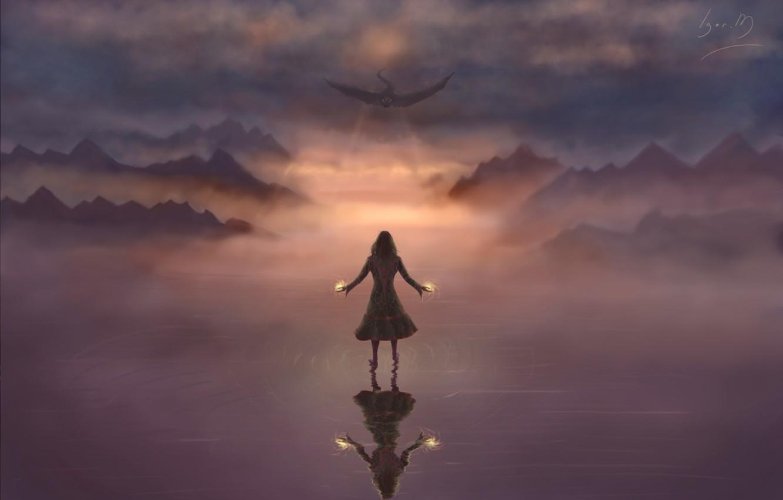 Photo wallpaper the sky, girl, fiction, fire, magic, dragon, wings, art, flies