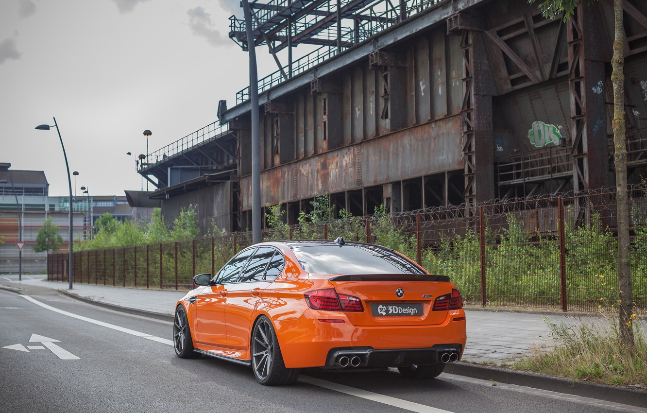 Photo wallpaper road, car, the fence, post, BMW, lantern, orange, 3D Design, machne