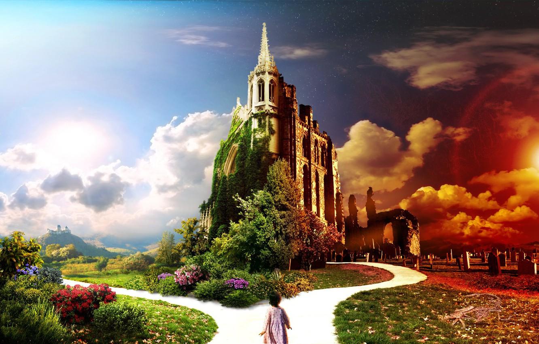 Photo wallpaper road, the sky, light, flowers, child. house