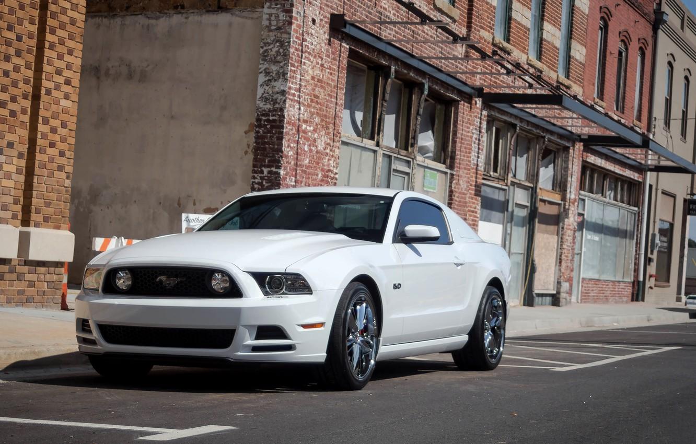 Photo wallpaper Mustang, Ford, 5.0, White, Street