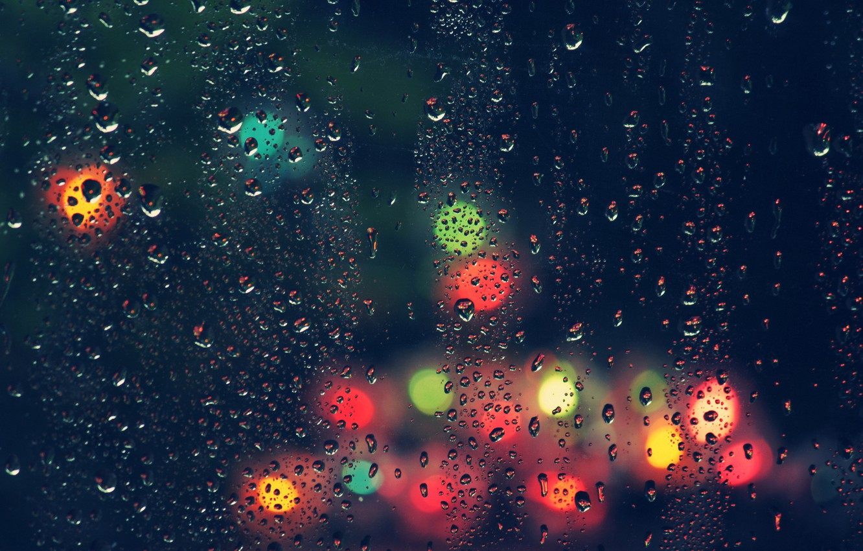 Photo wallpaper glass, drops, rain