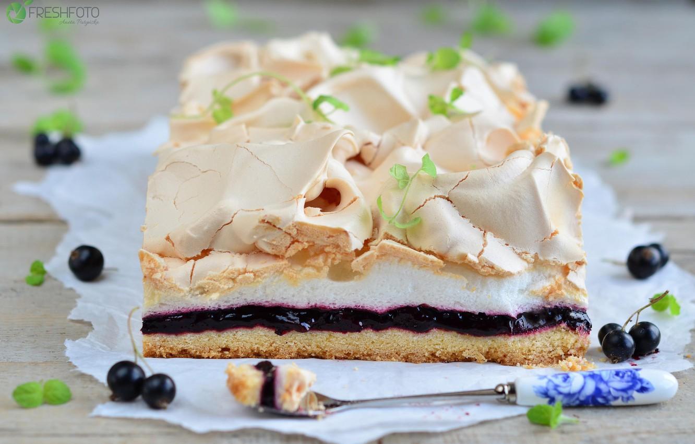 Photo wallpaper cake, dessert, currants, meringue