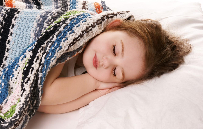 Photo wallpaper stay, sleep, blanket, girl, child